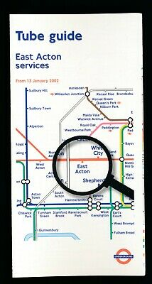 LONDON TRANSPORT UNDERGROUND TUBE MAP & GUIDE EAST ACTON SERVICES 13-Jan-2002