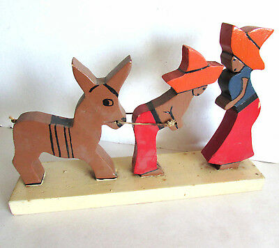 """Hand Carved Painted Mexican Couple w Donkey Wood Figure 11x7"""" folk art FREE SH"""