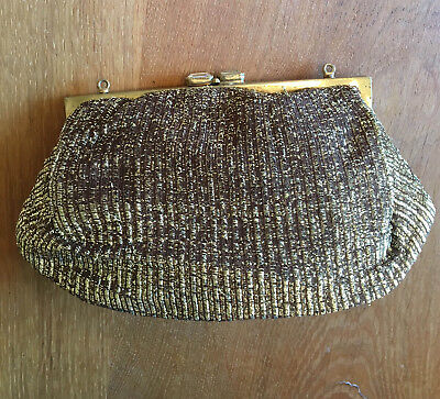 Vintage Evening Bag - Metallic Gold with Glass Diamond Clasp - 1950s
