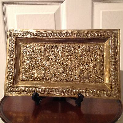 18th CENTURY MUGHAL INDIAN STYLE CAST BRONZE PANEL WITH DETAIL