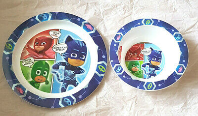 Boys PJ Masks 2 Piece Micro Safe Plate and Bowl Mealtime Set 12 Mths + New