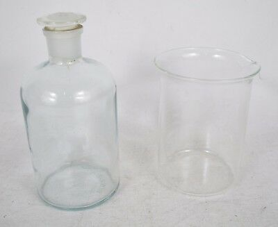 Lot 2 Apothecary Chemical Lab Bottle 1000 ml 1 Liter Heavy Wall One #29 Stopper