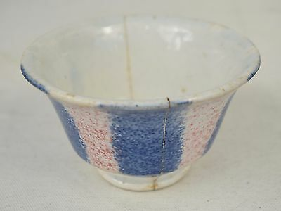 Spongeware Splatterware Red Blue Fruit Bowl 1830s Antique