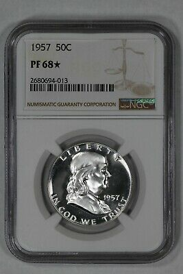 1957 Franklin Half Dollar 50C Ngc Certified Pf68* Proof Uncirculated (013)