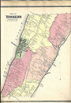1867 Town of Yonkers,  New York,Vintage Map. THIS IS NOT A REPRINT
