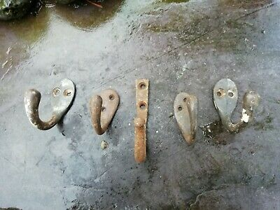 Antique Vintage Five Reclaimed Coat Hooks Original Not Reproduction (Set 6)