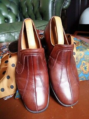 Vintage 70's Leather Slip on Dandy Loafers Shoes.Northern Soul Smoothie.Size 7