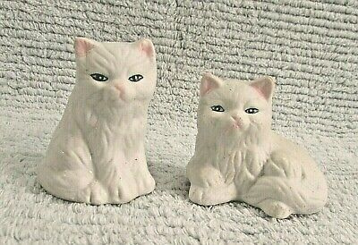Two Old 1990's White Ceramic Cat Figurines Hand Painted Eyes Ears Nose FREE S/H