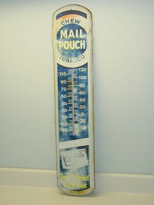 Vintage Advertising Chew Mail Pouch Tobacco Thermometer, Original