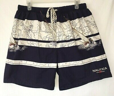ad5fb0dcbe Vintage Nautica Men's Swim Shorts Trunks w/ Liner Size L North Island  Spellout