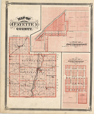 1876 Map of Fayette County, Indiana-Original