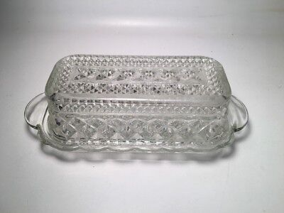 Vintage Anchor Hocking Wexford Covered Glass Butter Dish 1/4 pound stick size