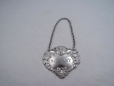 Turner & Simpson Sterling Silver Bacchus Grapes Sherry Liquor Tag Label English