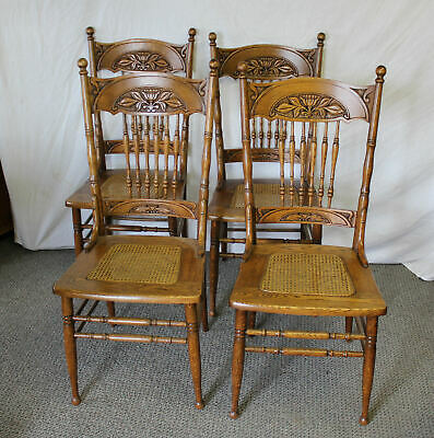 Antique Set of Four Matching Oak Pressback Chairs with Cane Seats