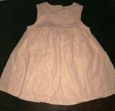 Girls Baby Gap 18-24 Months Peach Metallic Summer Sleeveless Dress