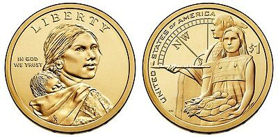 2014 P&D Native American Indian One Dollar U.S. Mint Coin Sacagawea Dollar Money