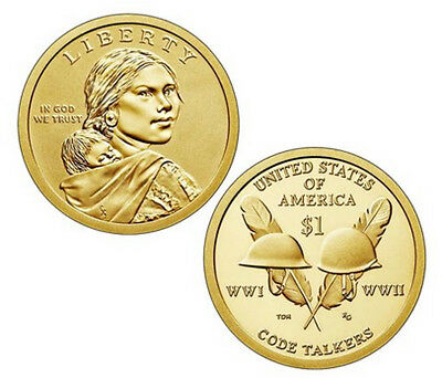 2016 P&D Sacagawea Native American Indian One Dollar Coin Code Talkers U.S Mint