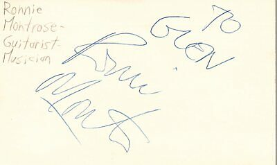 Ronnie Montrose Guitarist Musician Rock Music Signed Index Card JSA COA