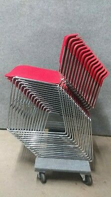 15 Vintage Red Steelcase Stacking Chairs Chrome Tweed Fiberglass Retro Designer