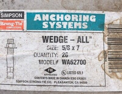 Simpson Strong-Tie STB2-251344SS 1//4 x 1-3//4 304SS Strong-Bolt2 Wedge Anchor 100ct