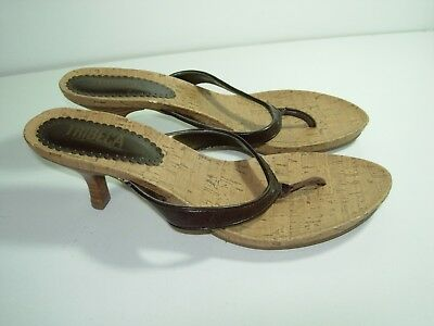 1113fca94985 Womens Brown Leather Tribeca Flip Flops Thongs Sandals Heels Shoes Size 8 M