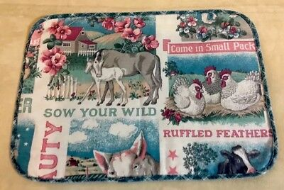 Vintage Kitchen Placemat, Farmyard, Pig, Horses, Chickens, Flowers, Sky, Clouds