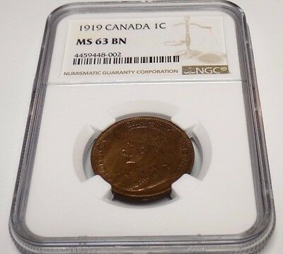 CANADA Canadian 1919 PENNY NGC MS63 BN MS 63 UNC ONE CENT Graded Certified Coin