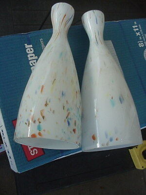 Pair Antique Art Deco Hanging Multi Colored Glass Lamps Wired For Track Lighting