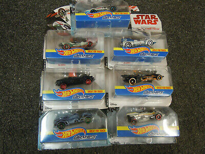 W7 Lot of 7 Hot Wheels Star Wars CarShips Slave I X-Wing Millennium Falcon Ghost