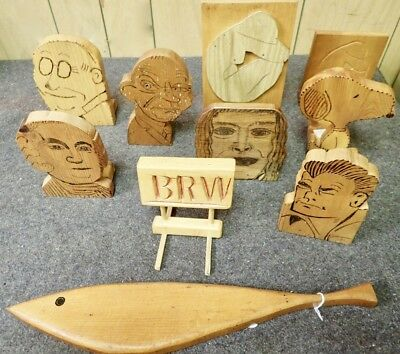 lot of vintage primitive folk art wood carvings Dick Tracy Lauren Bacall Snoopy