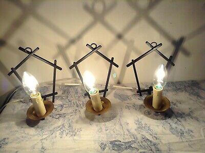 Set of 3 Vintage French Wrought Iron Style Wall Sconce Lights (1675)