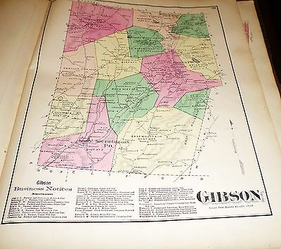 Original 1872 Map Town Of Gibson Pa Susquehanna County Residents Listed