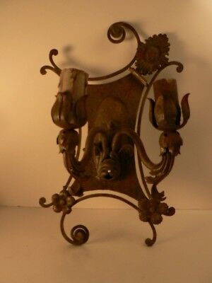 Antique Wrought Iron Tin Sconce 1920s Estate Spectacular!