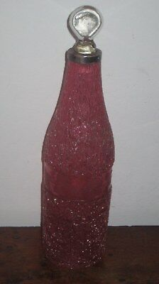 VICTORIAN CRACKLE CRANBERRY GLASS BOTTLE / DECANTER WITH STOPPER vine band