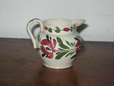 Antique Pottery Cream Jug Hand Painted Folk Art Flower Design Pos Welsh