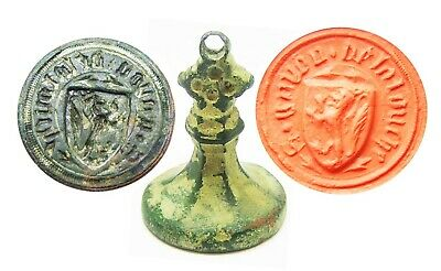 Superb Medieval Armorial Seal Sir Guy de la Roche 15th century Knight Agincourt