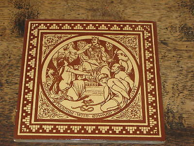 Large Victorian Minton Moyr Smith Tile English History Philippa Edward