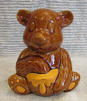 "Brown Yellow Hand Painted Honey Bear Dish Old 1990s 6"" Tall Ceramic Jar FREE S/H"