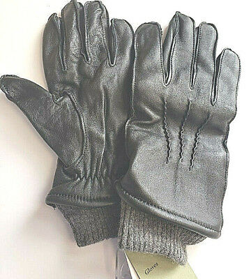 Goodfellow and Co Womens Black Leather Wool Cashmere Cuff Winter Gloves M or XL