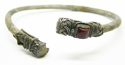 8th - 10th century AD Rare Jewelled Scandinavian Viking Silver Bracelet Arm Ring