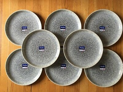 NWT 8 Pc Denby Halo Speckle Coupe Dinner Plates