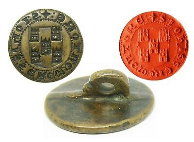 Rare 13th century Medieval Bronze Armorial Seal of John Lord of Torres (Perfect)