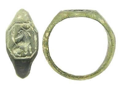 14th century AD Medieval Bronze Signet Ring Crowned Lion Edward III? Size 8 1/2