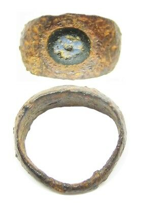 Ancient Roman Iron & Nicolo Glass Intaglio Ring Bird c. 1st - 3rd century A.D.