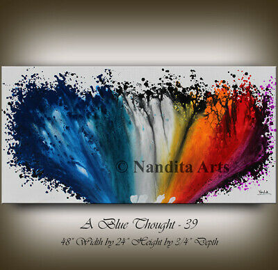 Abstract Wall Art Large Artwork Red, Orange Framed Wall Art Painting by Nandita
