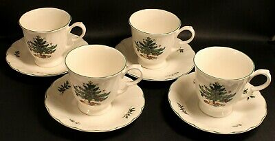 * Set of 4 * Nikko Happy Holidays Cups & Saucers EXCELLENT Never used