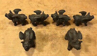 Set of Six Small Flying Pig Cast Iron Metal Figurines Statues Rustic 0184-10006