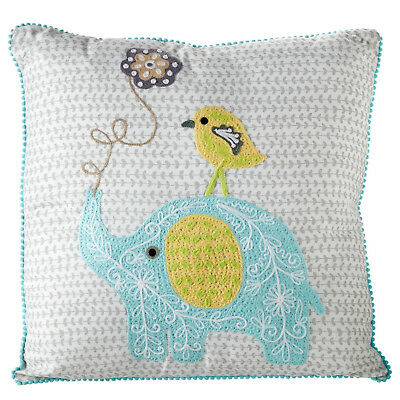 Embroidered Elephant and Chick Nursery Unisex Pillow in Blue, Yellow and Grey
