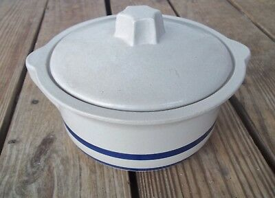 RRP Roseville Casserole Dish with Lid Natural Blue Stripe 1-1/2 Qt. Ransbottom