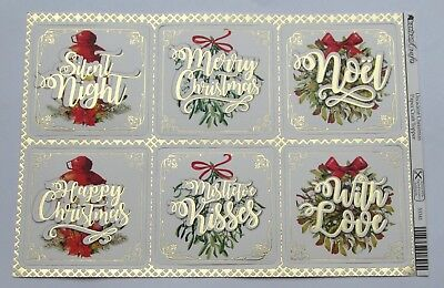 Kanban Decadent Christmas Foiled /& Die Cut Card Toppers 53344